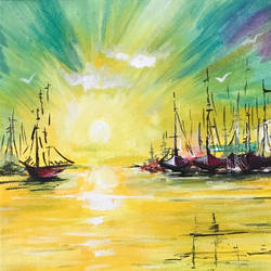 sailboats at sunset, acrylic, yellow, 8 x 10 inch, harshita s,8x10inch,canvas,paintings,abstract paintings,landscape paintings,impressionist paintings,paintings for dining room,paintings for living room,paintings for bedroom,paintings for office,paintings for kids room,paintings for hotel,paintings for hospital,acrylic color,GAL01430725240