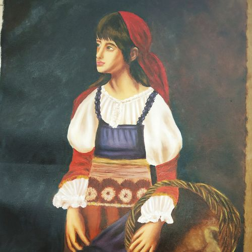 a girl in the village, 16 x 26 inch, anna anna,16x26inch,cloth,paintings,figurative paintings,portrait paintings,realistic paintings,paintings for living room,paintings for bedroom,paintings for hotel,paintings for hospital,paintings for living room,paintings for bedroom,paintings for hotel,paintings for hospital,oil color,GAL01440225256