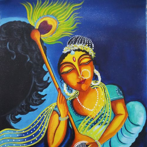 mirabai and krishna shadow, 16 x 20 inch, sandhya kumari,16x20inch,canvas,paintings,mother teresa paintings,warli paintings,lord shiva paintings,conceptual drawings,paintings for dining room,paintings for living room,paintings for bedroom,paintings for office,paintings for kids room,paintings for hotel,paintings for kitchen,paintings for school,paintings for hospital,acrylic color,GAL0365925263