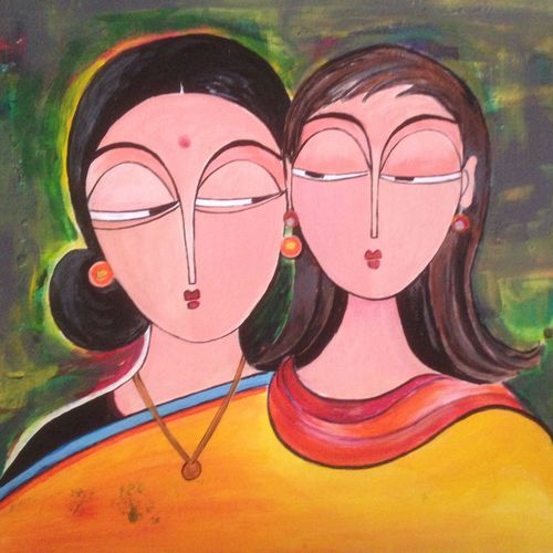 charming women, 12 x 17 inch, promila singh,12x17inch,thick paper,paintings,figurative paintings,paintings for living room,acrylic color,GAL0823225264, mother,child,love