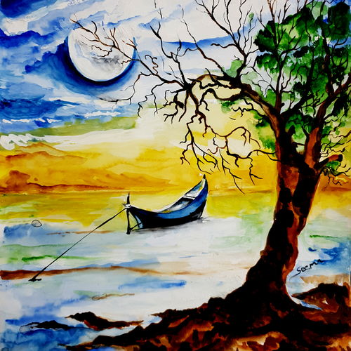 landscape scenic beauty of nature, 11 x 12 inch, seema agrawal,11x12inch,cartridge paper,paintings,landscape paintings,nature paintings,paintings for dining room,paintings for living room,paintings for office,paintings for hotel,watercolor,GAL0185925265,trees,water,beautiful,leaves,flowers,sunset