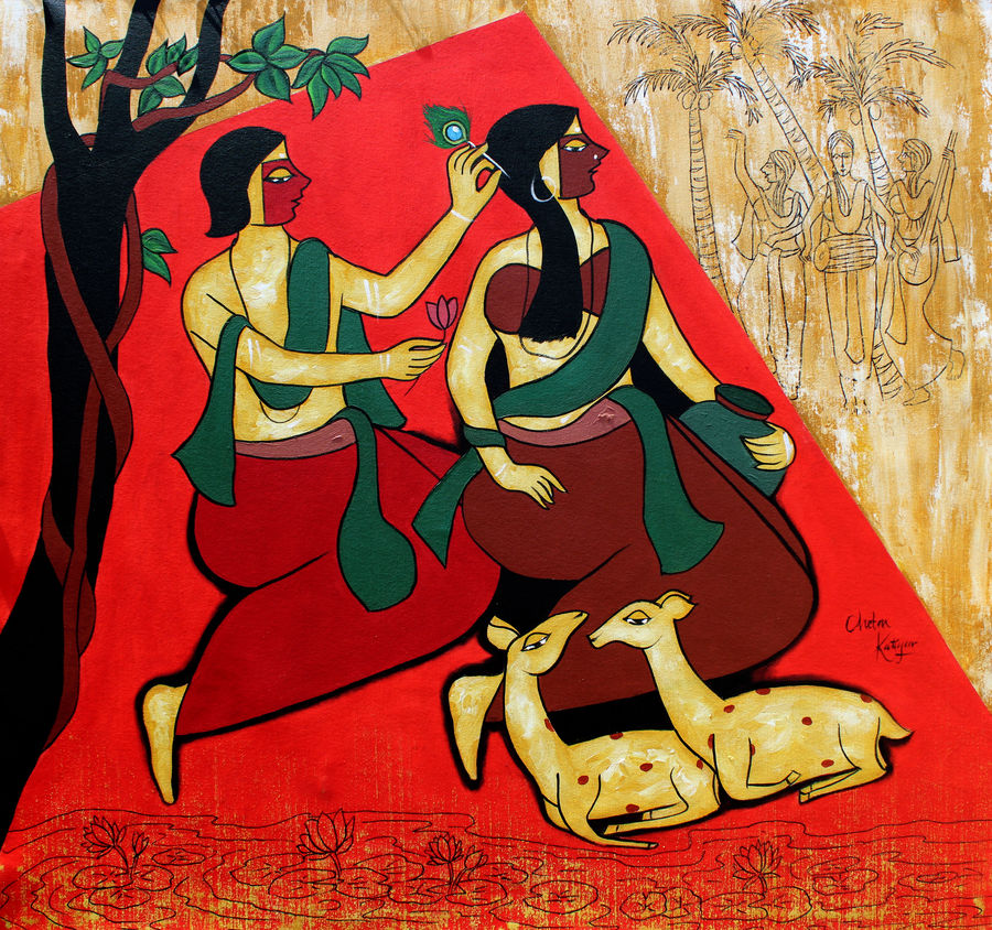 true love, 35 x 35 inch, chetan katigar,35x35inch,canvas,paintings,abstract paintings,figurative paintings,modern art paintings,multi piece paintings,religious paintings,still life paintings,portrait paintings,nature paintings,art deco paintings,expressionism paintings,impressionist paintings,radha krishna paintings,contemporary paintings,love paintings,paintings for living room,paintings for bedroom,paintings for office,paintings for hotel,acrylic color,GAL026625270