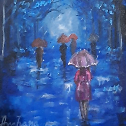 rainy day, 8 x 10 inch, archana satapathy ,8x10inch,canvas,paintings,abstract paintings,paintings for dining room,paintings for living room,paintings for office,acrylic color,GAL01407825279