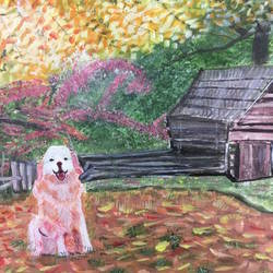 cabin and dog, 24 x 18 inch, saradha devi prabhakaran,24x18inch,canvas board,paintings,landscape paintings,nature paintings,impressionist paintings,animal paintings,dog painting,paintings for living room,paintings for bedroom,paintings for office,paintings for kids room,paintings for hotel,paintings for school,paintings for hospital,acrylic color,GAL0798825282