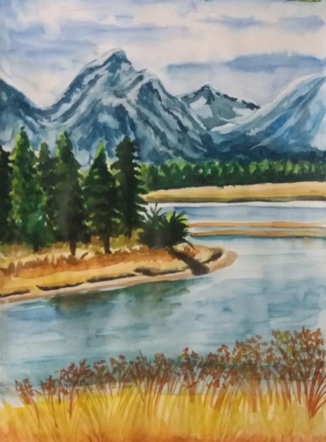 moutain with river, 11 x 15 inch, surajit  mondal,11x15inch,cartridge paper,paintings,nature paintings,paintings for dining room,paintings for living room,paintings for office,paintings for bathroom,paintings for hotel,paintings for kitchen,watercolor,GAL01429425285