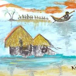 flood situation, 15 x 22 inch, rita dash,15x22inch,canvas,paintings,nature paintings,paintings for living room,paintings for office,paintings for school,acrylic color,GAL01382125286