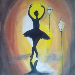 dancing girl, 12 x 16 inch, sidhi garg,abstract paintings,paintings for living room,paintings for office,paper,poster color,12x16inch,GAL010172529