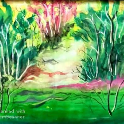 an  european forest  on the bank of an indian river, 13 x 17 inch, rita dash,13x17inch,rice paper,paintings,expressionism paintings,paintings for living room,paintings for office,paintings for hotel,paintings for school,paintings for hospital,watercolor,GAL01382125290