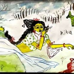 sakuntala writing a love letter, 13 x 18 inch, rita dash,13x18inch,rice paper,paintings,figurative paintings,paintings for living room,paintings for bedroom,paintings for hotel,watercolor,GAL01382125291