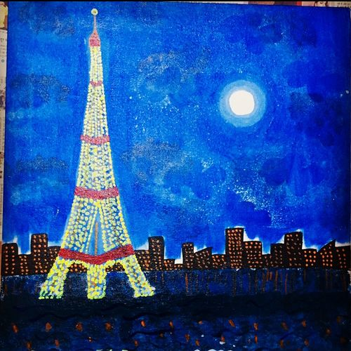 eiffel tower, 14 x 28 inch, shruti jain,14x28inch,canvas,paintings,abstract paintings,still life paintings,paintings for dining room,paintings for living room,acrylic color,GAL01403925295