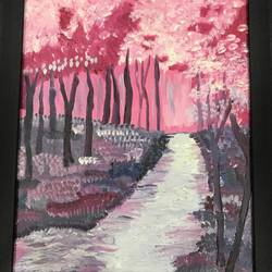 pink forest landscape acrylic painting , 12 x 14 inch, sanadaysh kaaladah,12x14inch,canvas,paintings,landscape paintings,acrylic color,GAL01356125300