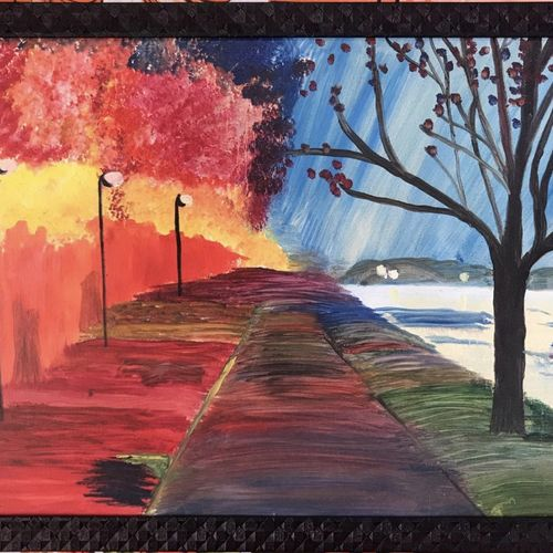 colorful nature oil painting on canvas, 23 x 16 inch, sanadaysh kaaladah,23x16inch,canvas,paintings,landscape paintings,nature paintings,oil color,GAL01356125302
