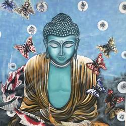 buddha, 36 x 48 inch, sudha sarawagi ,36x48inch,canvas,paintings,buddha paintings,paintings for dining room,paintings for living room,paintings for hotel,oil color,GAL0342925316,lordbuddha,inner,peace,butterfly,blue