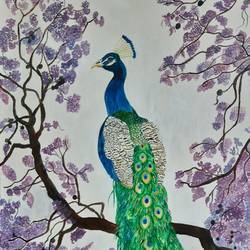 the peacock throne, 20 x 24 inch, kamakshi jamwal,20x24inch,canvas board,paintings,wildlife paintings,paintings for dining room,paintings for living room,paintings for bedroom,paintings for office,paintings for bathroom,paintings for kids room,paintings for hotel,paintings for hospital,acrylic color,GAL0313725324