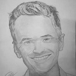 barney stinson - neil patrick harris - a4, 12 x 8 inch, shobhit verma,12x8inch,paper,drawings,documentary drawings,expressionism drawings,figurative drawings,fine art drawings,illustration drawings,impressionist drawings,photorealism drawings,portrait drawings,realism drawings,surrealism drawings,paintings for dining room,paintings for living room,paintings for bedroom,paintings for office,paintings for bathroom,paintings for kids room,paintings for hotel,paintings for kitchen,paintings for school,paintings for hospital,charcoal,watercolor,paper,GAL01429325331