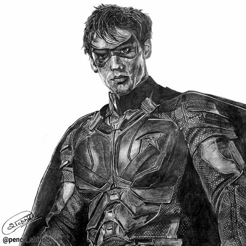 robin - dick grayson - titans - a3, 14 x 11 inch, shobhit verma,14x11inch,paper,drawings,documentary drawings,expressionism drawings,figurative drawings,fine art drawings,illustration drawings,impressionist drawings,photorealism drawings,portrait drawings,realism drawings,surrealism drawings,kids drawings,paintings for dining room,paintings for living room,paintings for bedroom,paintings for office,paintings for bathroom,paintings for kids room,paintings for hotel,paintings for kitchen,paintings for school,paintings for hospital,charcoal,graphite pencil,paper,GAL01429325337