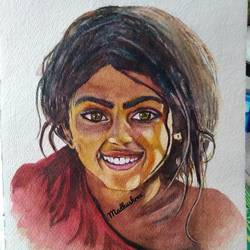 innocence, 10 x 14 inch, madhushree pawar,10x14inch,handmade paper,paintings,portrait paintings,watercolor,GAL01458325353