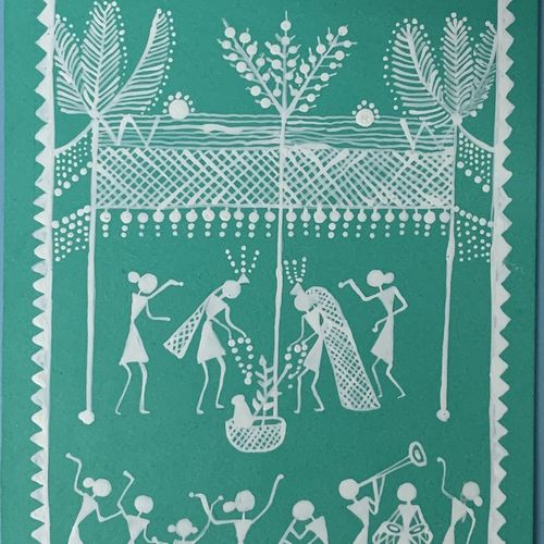 under the stars , 5 x 13 inch, ragini pandey,5x13inch,thick paper,paintings,folk art paintings,warli paintings,paintings for dining room,paintings for living room,paintings for bedroom,paintings for office,paintings for hotel,acrylic color,paper,GAL010725357