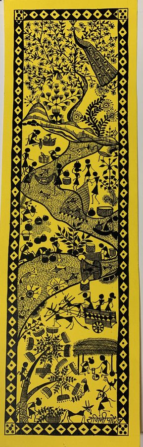 river life, 11 x 14 inch, ragini pandey,11x14inch,thick paper,paintings,folk art paintings,warli paintings,paintings for dining room,paintings for living room,paintings for bedroom,paintings for office,paintings for hotel,paintings for school,paintings for hospital,acrylic color,paper,GAL010725358
