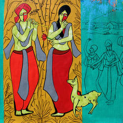 pure love, 35 x 22 inch, chetan katigar,35x22inch,canvas,paintings,figurative paintings,modern art paintings,religious paintings,abstract expressionism paintings,art deco paintings,expressionism paintings,impressionist paintings,radha krishna paintings,contemporary paintings,love paintings,paintings for dining room,paintings for living room,paintings for bedroom,paintings for office,paintings for kitchen,paintings for hospital,acrylic color,GAL026625361