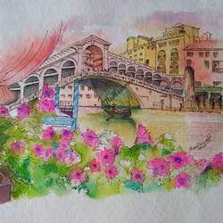 the bridge2, 10 x 14 inch, madhushree pawar,10x14inch,handmade paper,paintings,nature paintings,paintings for dining room,paintings for living room,paintings for bedroom,paintings for office,paintings for hotel,watercolor,GAL01458325363