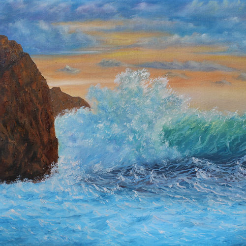 sea waves at sunset, 20 x 16 inch, goutami mishra,20x16inch,canvas,paintings,landscape paintings,nature paintings,photorealism paintings,photorealism,realism paintings,realistic paintings,paintings for living room,paintings for bedroom,paintings for office,paintings for kids room,paintings for hotel,paintings for school,oil color,GAL046525371