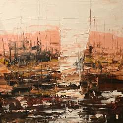 harbour, 34 x 48 inch, ayesha  seksaria ,34x48inch,canvas,paintings,abstract paintings,acrylic color,GAL01460425378