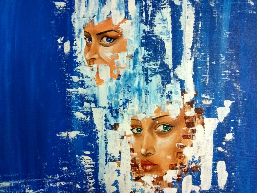 naked faces, 20 x 16 inch, manika sharma,abstract paintings,paintings for living room,canvas board,acrylic color,20x16inch,GAL010222538