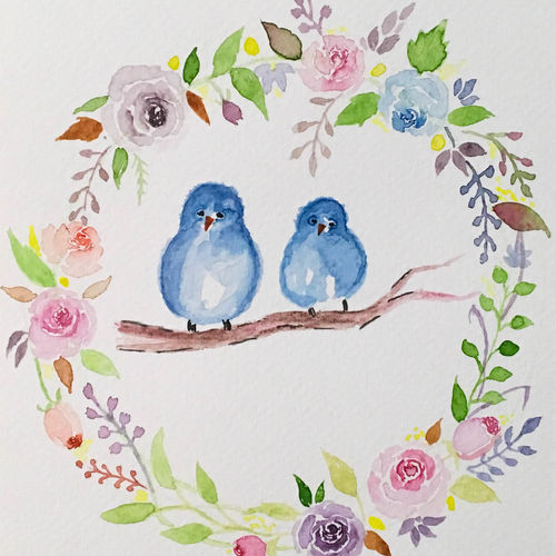 floral wreath birds painting watercolor, 6 x 8 inch, harshita s,6x8inch,brustro watercolor paper,paintings,wildlife paintings,flower paintings,modern art paintings,nature paintings,animal paintings,love paintings,children paintings,kids paintings,paintings for dining room,paintings for living room,paintings for bedroom,paintings for office,paintings for bathroom,paintings for kids room,paintings for hotel,paintings for kitchen,paintings for school,paintings for hospital,watercolor,GAL01430725382
