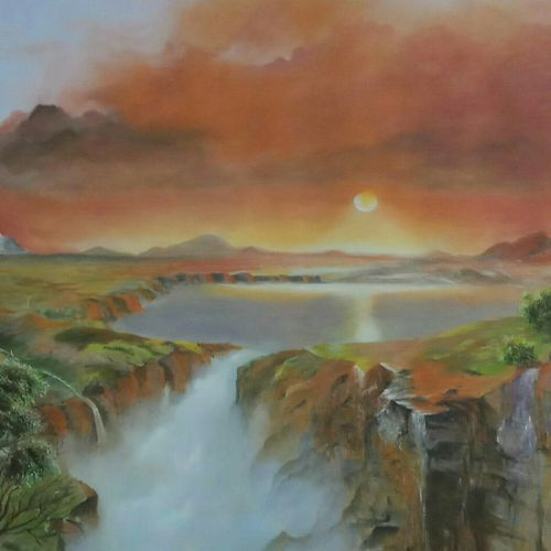 red sky sunset falls , 44 x 26 inch, md moin ,44x26inch,canvas,paintings,landscape paintings,paintings for living room,paintings for office,oil color,GAL01096025392