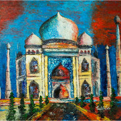 taj mahal, 24 x 20 inch, preetika jain,24x20inch,canvas,paintings,abstract paintings,illustration paintings,paintings for dining room,paintings for living room,paintings for bedroom,paintings for office,paintings for hotel,paintings for school,paintings for hospital,acrylic color,GAL01440425397