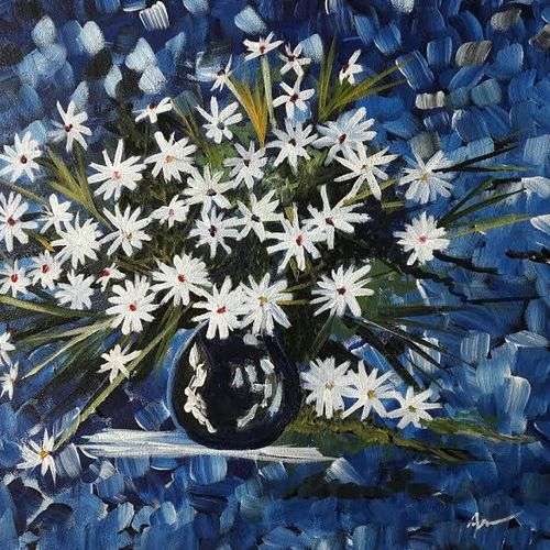 white small flower , 21 x 15 inch, indhuja raghavan,flower paintings,paintings for living room,canvas,acrylic color,21x15inch,GAL0110254