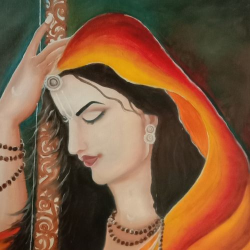 meera bai, 56 x 73 inch, ila  singh,56x73inch,canvas,paintings,religious paintings,expressionism paintings,impressionist paintings,photorealism paintings,realism paintings,realistic paintings,paintings for living room,paintings for office,paintings for hotel,paintings for school,oil color,GAL0795925400