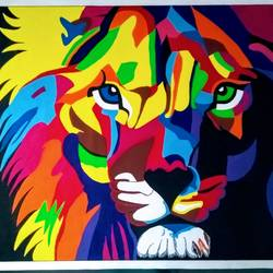 colourful lion king, 44 x 32 inch, geeta kwatra,44x32inch,canvas,paintings,abstract paintings,paintings for living room,paintings for office,paintings for hotel,acrylic color,GAL0899125408