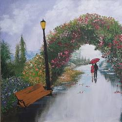 rainy romance acrylic painting, 24 x 18 inch, adithya  muralidharan ,24x18inch,canvas board,paintings,flower paintings,conceptual paintings,paintings for dining room,paintings for living room,paintings for bedroom,paintings for dining room,paintings for living room,paintings for bedroom,acrylic color,GAL01251525418
