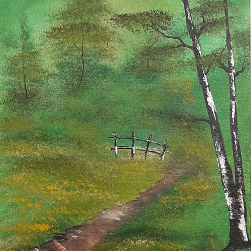 acrylic forest path, 12 x 16 inch, adithya  muralidharan ,12x16inch,canvas board,paintings,landscape paintings,nature paintings,paintings for dining room,paintings for living room,paintings for bedroom,paintings for office,paintings for hotel,acrylic color,GAL01251525421