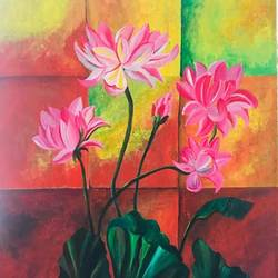 beautiful flower with contrast, 20 x 24 inch, priyanka i lahoti,20x24inch,canvas,paintings,flower paintings,paintings for dining room,paintings for living room,paintings for bedroom,acrylic color,GAL01453925428