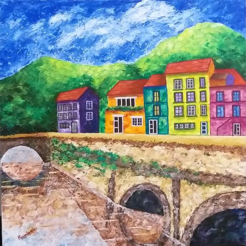 the orange house, 30 x 30 inch, kamlesh  purohit ,30x30inch,canvas,paintings,landscape paintings,paintings for living room,paintings for office,paintings for hotel,acrylic color,GAL01468725430