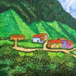 village in the valley, 30 x 30 inch, kamlesh  purohit ,30x30inch,canvas,paintings,landscape paintings,paintings for living room,paintings for office,paintings for hotel,paintings for school,acrylic color,GAL01468725431