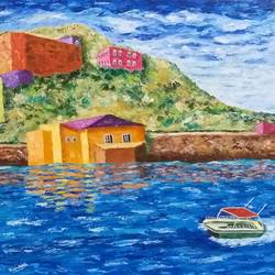 the boat with red roof., 30 x 30 inch, kamlesh  purohit ,30x30inch,canvas,paintings,landscape paintings,nature paintings,paintings for dining room,paintings for living room,paintings for office,paintings for kids room,paintings for hotel,paintings for school,paintings for hospital,acrylic color,GAL01468725435