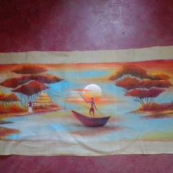 sunrise wall mat, 24 x 12 inch, sucharita chatterjee,24x12inch,cloth,handicrafts,wall hangings,textile art,fabric,GAL0584525447