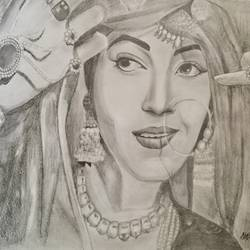 madhubala, 15 x 11 inch, priyanshu sharma,15x11inch,thick paper,drawings,figurative drawings,fine art drawings,portrait drawings,paintings for dining room,paintings for living room,paintings for bedroom,paintings for office,paintings for hotel,mixed media,graphite pencil,GAL0973625449