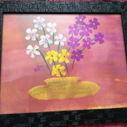 flowers for love, 12 x 8 inch, minakhi choudhury,12x8inch,thick paper,flower paintings,paintings for bedroom,paintings for bedroom,acrylic color,GAL01441425451