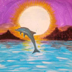 dolphin_at_puri_art, 10 x 11 inch, minakhi choudhury,10x11inch,hardboard,paintings,nature paintings,paintings for living room,poster color,GAL01441425452
