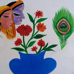 radha_krishna_flowers, 10 x 10 inch, minakhi choudhury,10x10inch,hardboard,paintings,religious paintings,paintings for office,poster color,GAL01441425454