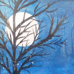 full_moon_view, 8 x 12 inch, minakhi choudhury,8x12inch,hardboard,nature paintings,paintings for bedroom,paintings for bedroom,poster color,GAL01441425455