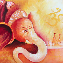 lord ganesha/ ganesh acrylic painting, yellow orange,ganpati painting, 20 x 16 inch, harshita s,20x16inch,canvas,paintings,figurative paintings,conceptual paintings,religious paintings,portrait paintings,impressionist paintings,ganesha paintings,paintings for dining room,paintings for living room,paintings for bedroom,paintings for office,paintings for hotel,acrylic color,GAL01430725459,ganpati bappa morya,ganesh chaturthi,ganesh murti,elephant god,religious,lord ganesh,ganesha,om,hindu god,shiv parvati, putra,bhakti,blessings,aashirwad,pooja,puja,aarti,ekdant,vakratunda,lambodara,bhalchandra,gajanan,vinayak,prathamesh,vignesh,heramba,siddhivinayak,mahaganpati,omkar,mushak,mouse,ladoo,modak,shlok