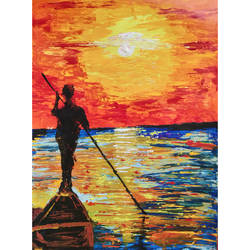 abstract paddler silhouette, 11 x 15 inch, priyanshu sharma,11x15inch,thick paper,paintings,abstract paintings,figurative paintings,landscape paintings,nature paintings,art deco paintings,paintings for dining room,paintings for living room,paintings for bedroom,paintings for office,paintings for hotel,paintings for kitchen,paintings for school,paintings for hospital,acrylic color,GAL0973625463