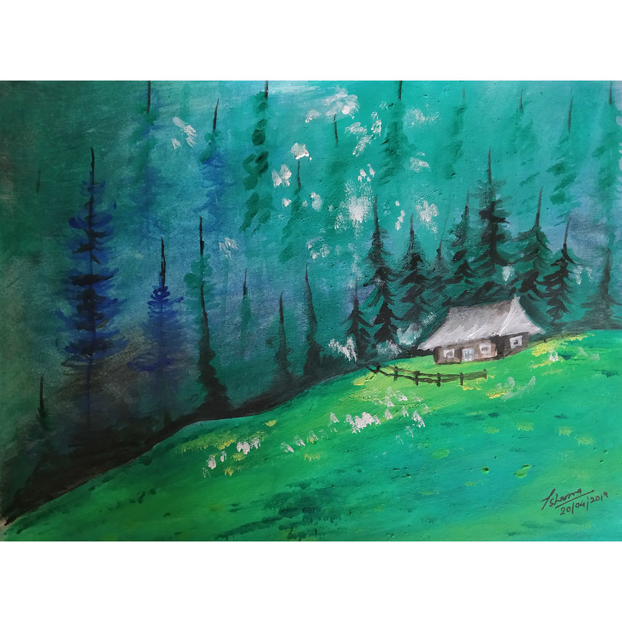 forest hut, 8 x 6 inch, priyanshu sharma,8x6inch,thick paper,paintings,landscape paintings,art deco paintings,paintings for dining room,paintings for living room,paintings for bedroom,paintings for office,paintings for hotel,paintings for kitchen,paintings for school,paintings for hospital,watercolor,GAL0973625465