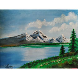 mountains & lake, 8 x 6 inch, priyanshu sharma,8x6inch,thick paper,paintings,landscape paintings,art deco paintings,paintings for dining room,paintings for living room,paintings for bedroom,paintings for office,paintings for hotel,paintings for kitchen,paintings for school,paintings for hospital,watercolor,GAL0973625466